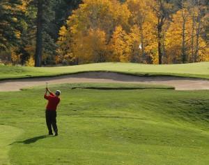 A golfer in Steamboat Springs